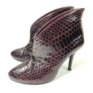 Vince Camuto Booties Heels Purple Snakeskin Sz 6.5